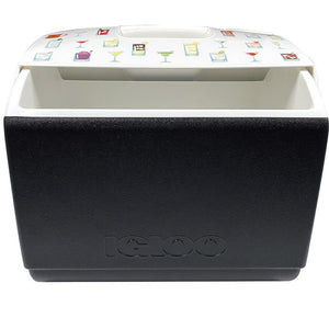Open view of black and white Igloo Playmate cooler with assorted cocktail illustrations on the lid