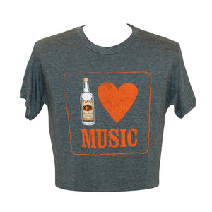 "Gray short sleeve tee with ""I heart music"" on front, Tito's bottle replacing the ""I"""
