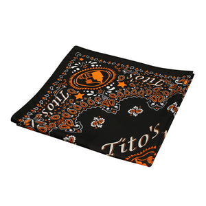 Black bandana with orange and white Tito's Handmade Vodka designs