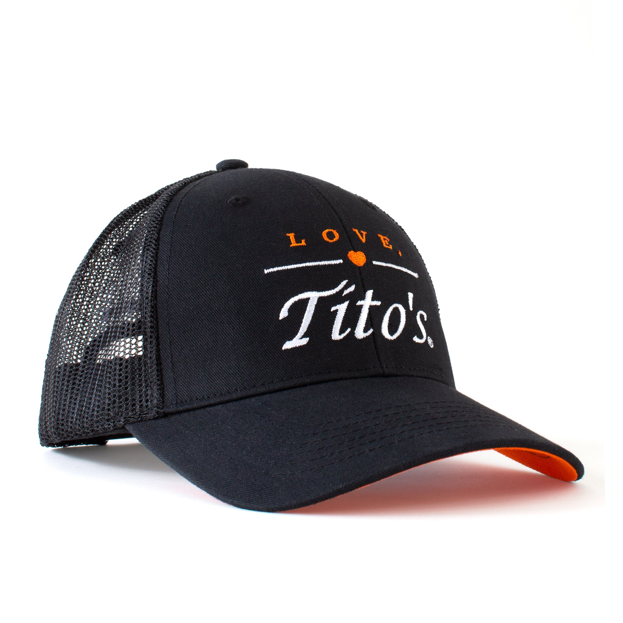 Front view of black trucker hat with embroidered Love, Tito's logo