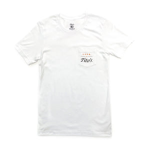 Front of white short-sleeved t-shirt with Love, Tito's logo on left breast pocket