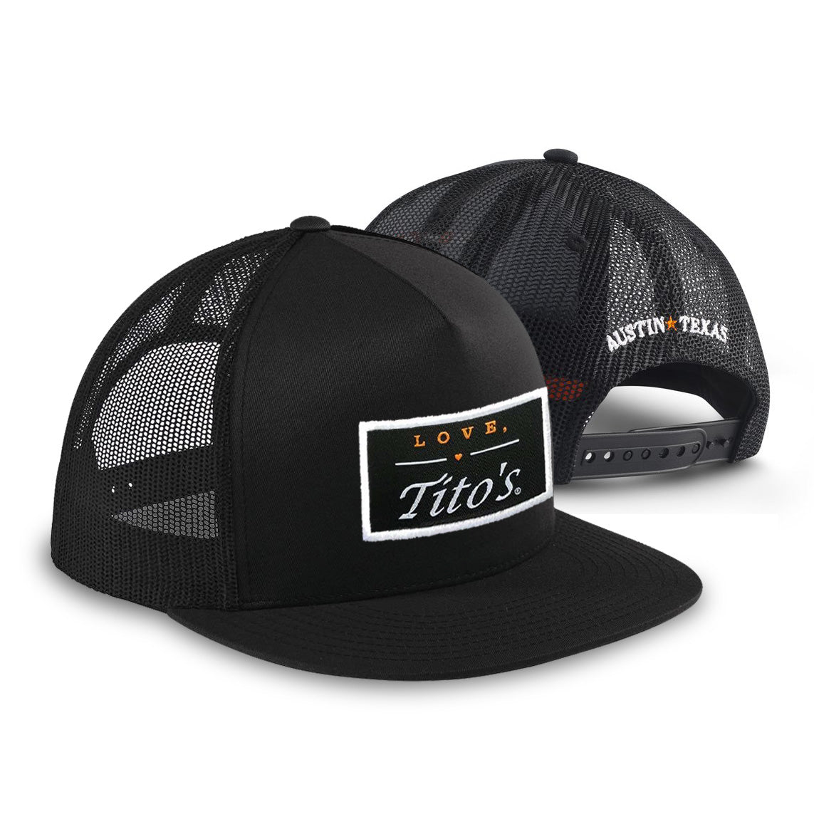 "Black trucker hat with ""Love, Tito's"" logo patch on front and ""Austin, Texas"" embroidered on back"