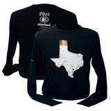 Front and back view of black long-sleeved There's No Place Like Austin t-shirt