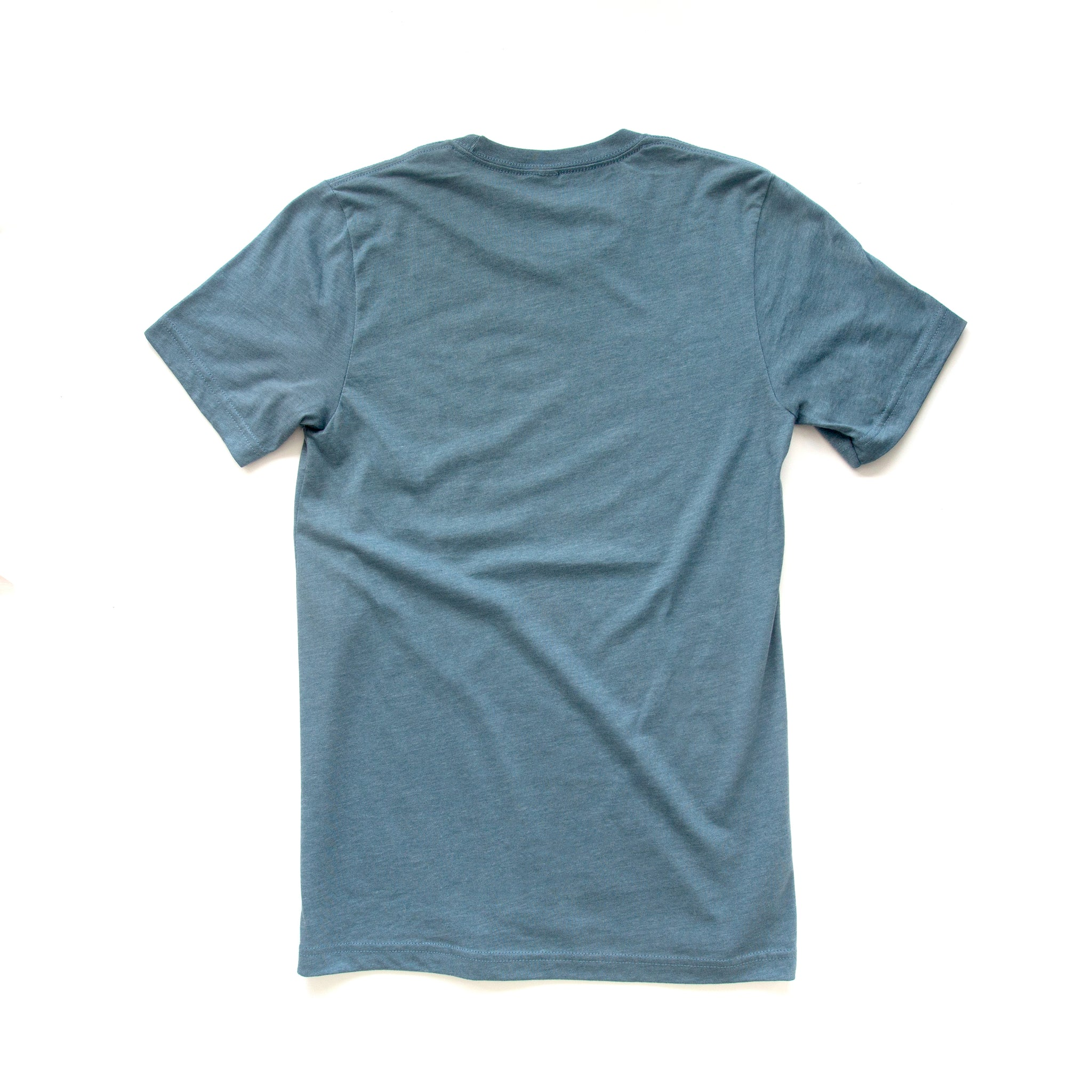 Back view of slate gray short-sleeved t-shirt