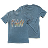 Front and back view of slate gray short-sleeved t-shirt with gradient Tito's wordmark on front and blank back