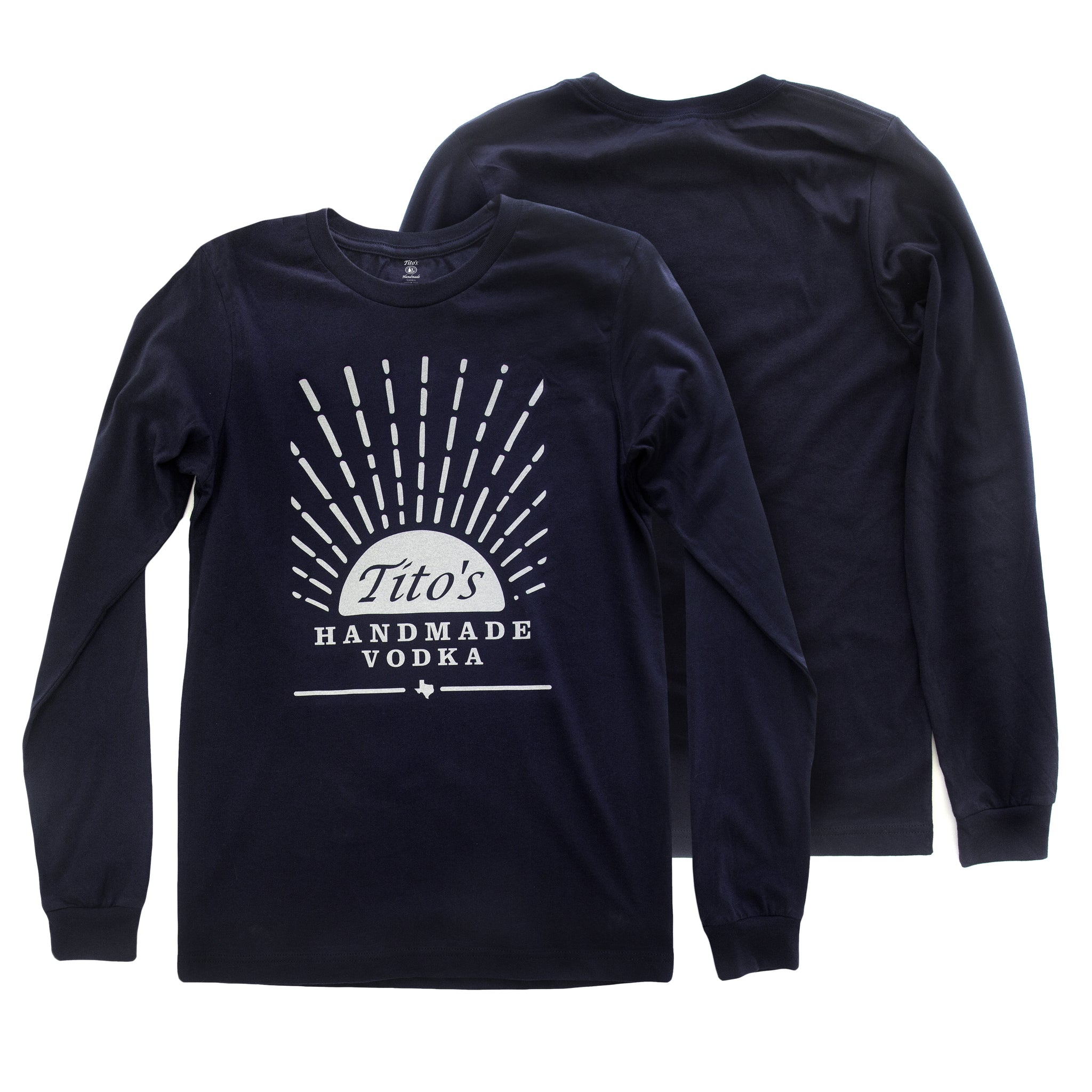 Navy long-sleeved t-shirt with Tito's Handmade Vodka mark and sunrise design on the front and blank back