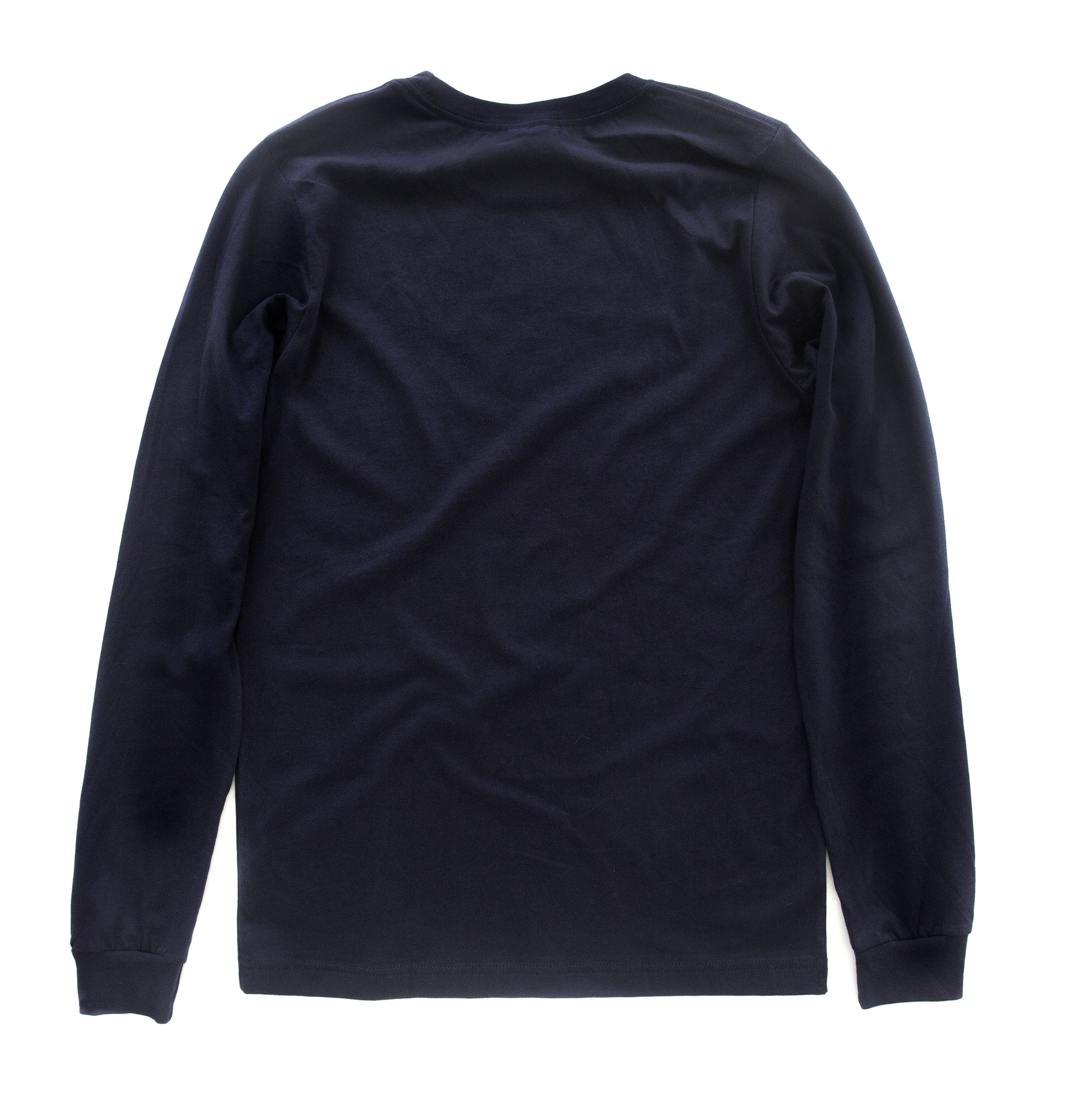 Back view of navy long-sleeved t-shirt