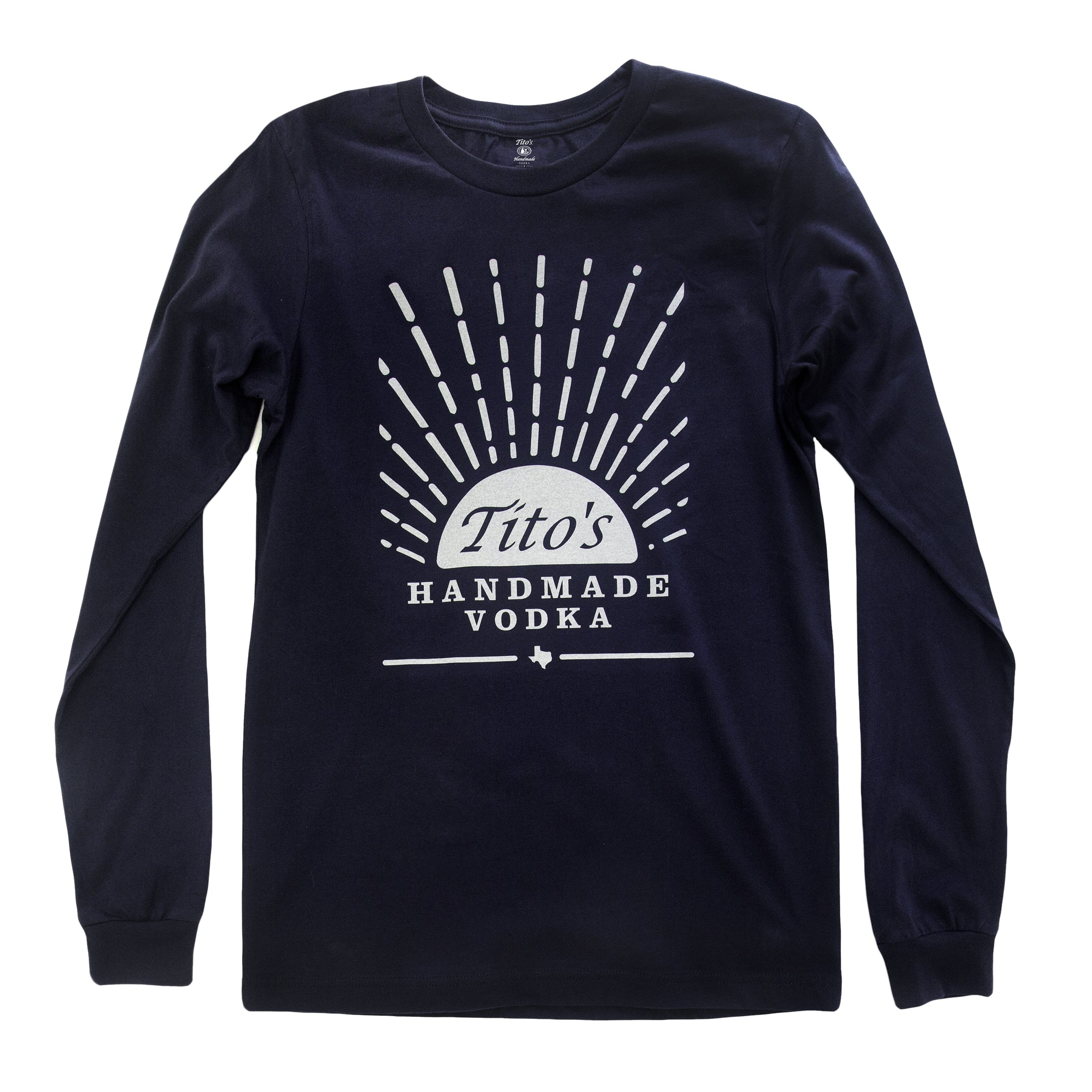 Navy long-sleeved t-shirt with Tito's Handmade Vodka mark and sunrise design