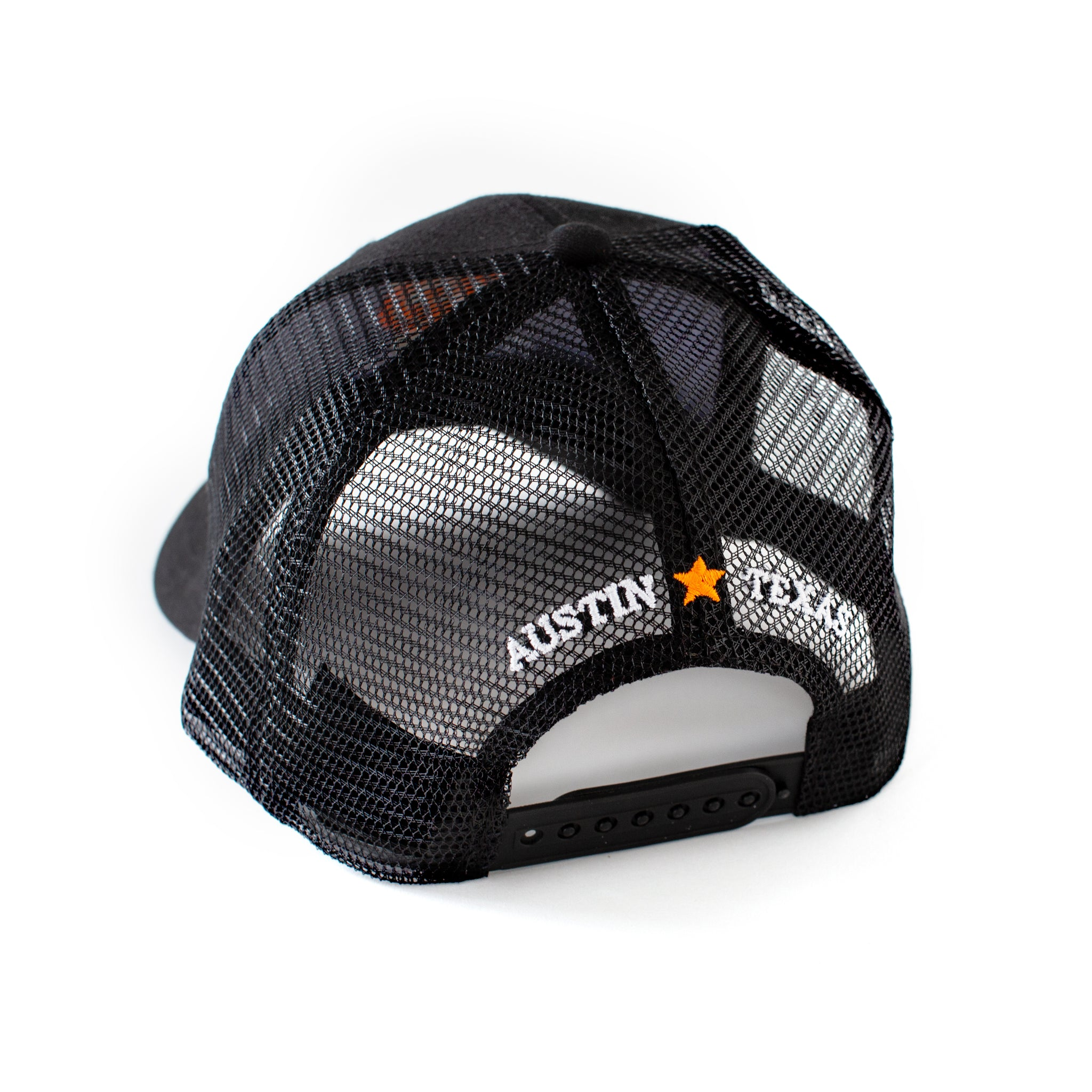 Plastic adjustable snap back closure and mesh back with Austin, Texas text