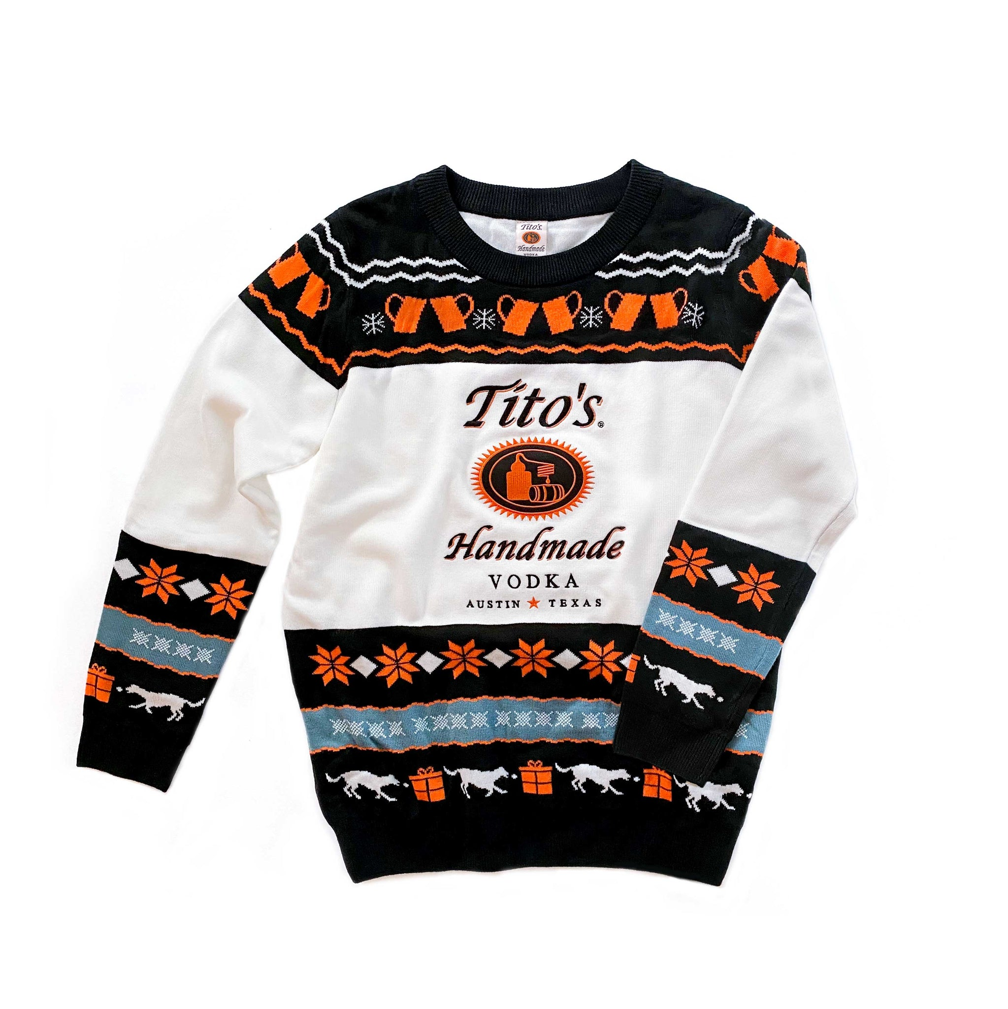 Front view of Tito's Ugly Sweater with Tito's Handmade Vodka logo, and holiday designs of copper mugs, snowflakes, and dogs