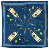 Navy silk scarf with illustrated Tito's Handmade Vodka bottles, martini glasses, and green olives