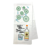 White tea towel with printed Enjoy a Tito's Soda & Lime design and embroidered limes