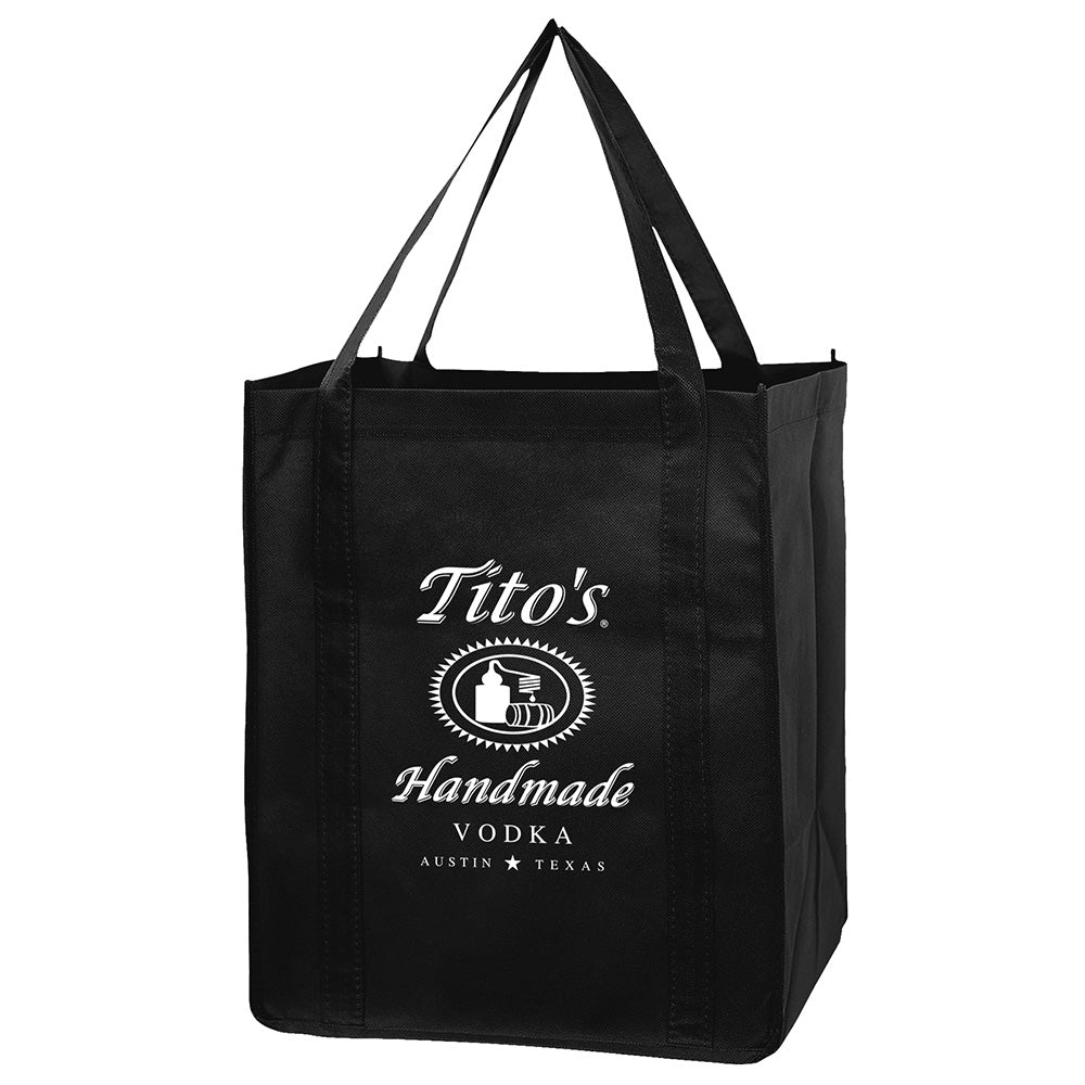 Black tote bag with Tito's Handmade Vodka logo