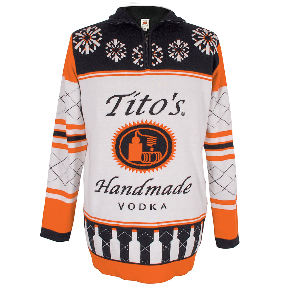 Front of Tito's Ugliest Sweater with Tito's Handmade Vodka logo and orange, black, and white holiday designs