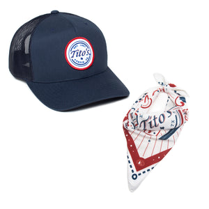 Navy snapback cap with red, white, and blue Tito's wordmark patch and folded red, white, and blue Tito's bandana