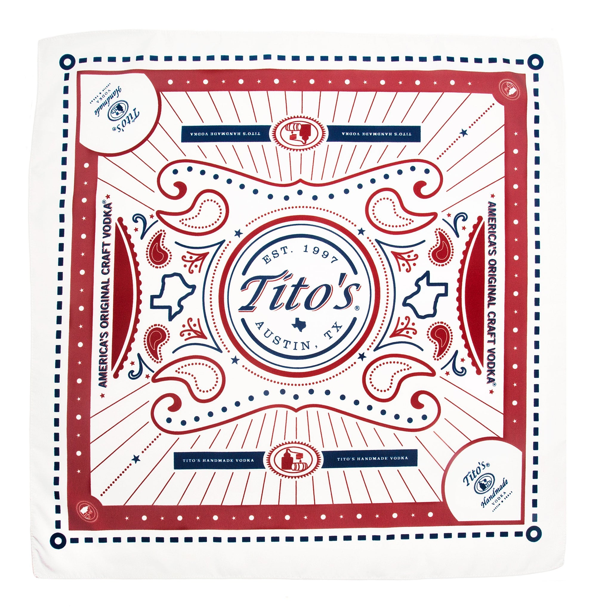 Red, white, and blue bandana with Tito's logo, pot stills, and the state of Texas details