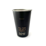 Black Klean Kanteen pint cup with Fill this Cup, Not a Landfill on the back