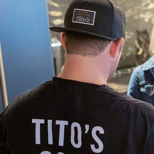 Man wearing Love, Tito's Patch Hat