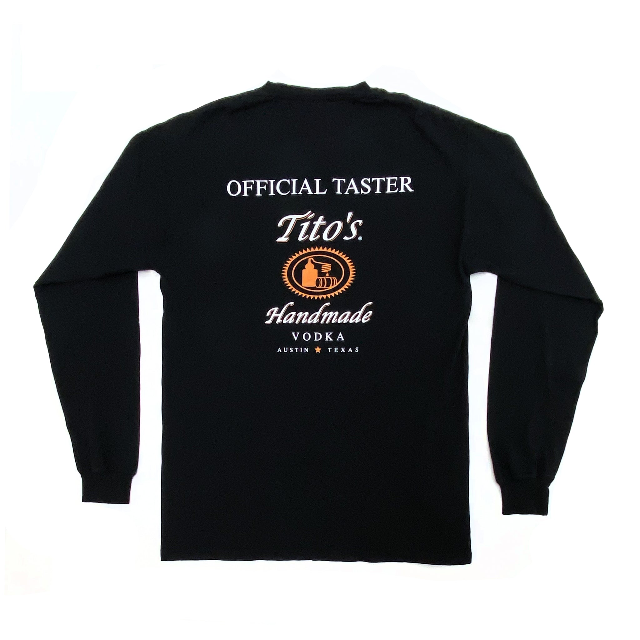 Back of black long-sleeved t-shirt with Official Tito's Taster mark
