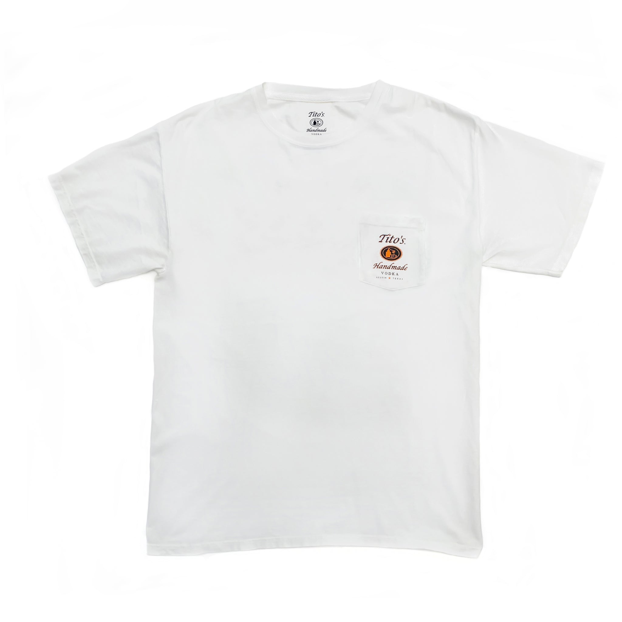 Front view of white short-sleeved t-shirt with Tito's Handmade Vodka logo on left breast pocket