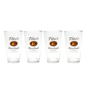 Set of four Pint glass with tito's handmade vodka logo on one side