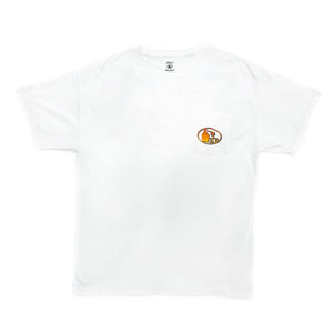 Front view of white short-sleeved t-shirt with orange to yellow fade pot still design on left breast pocket