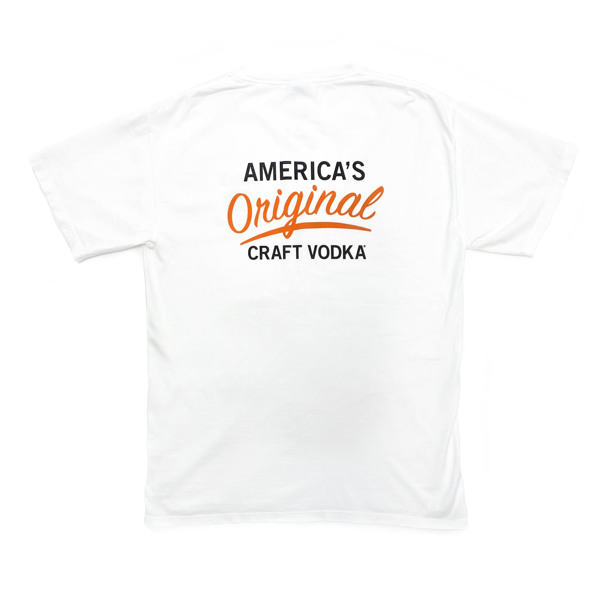 Back of white short-sleeved t-shirt with America's Original Craft Vodka mark
