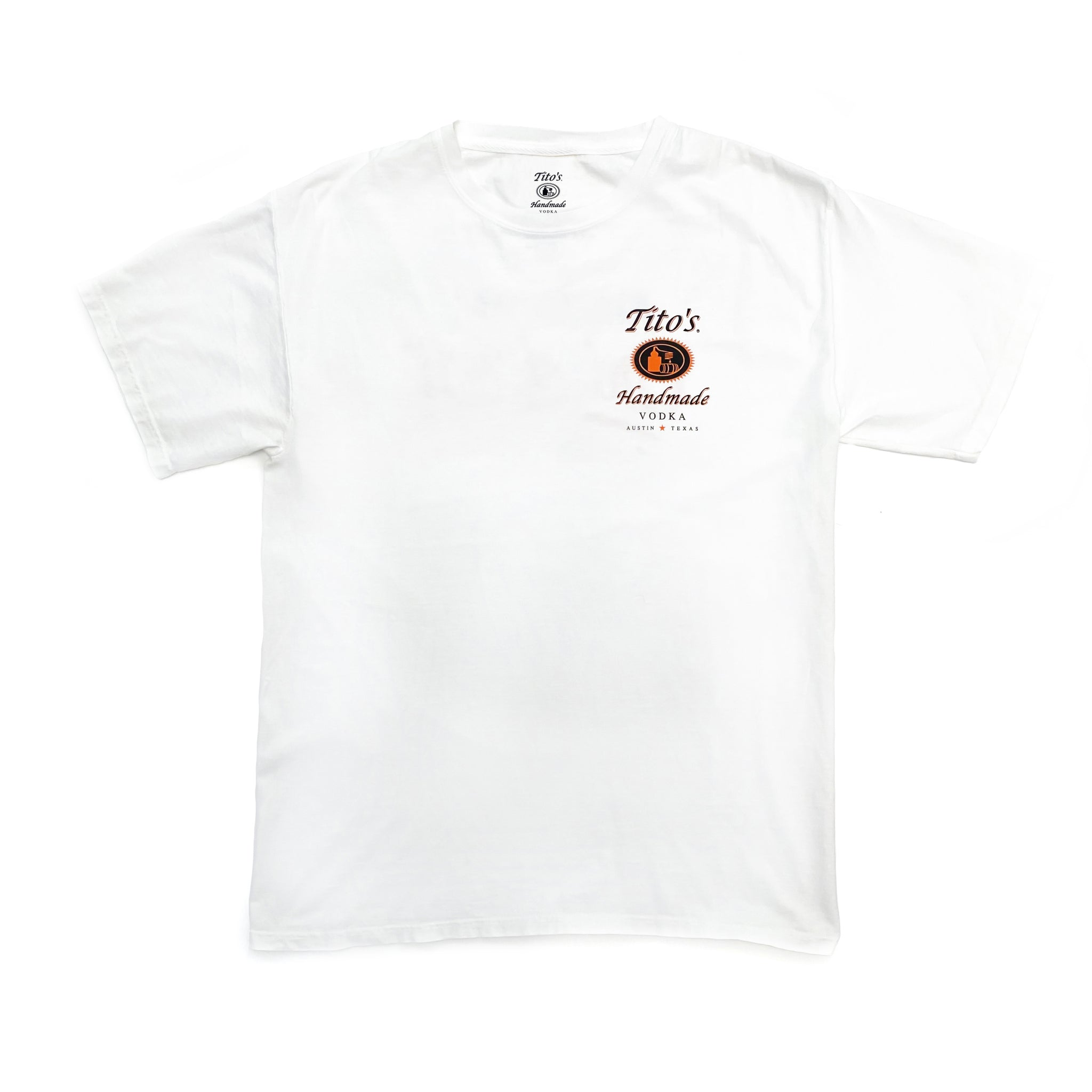 Front of white short-sleeved t-shirt with Tito's Handmade Vodka logo on left breast