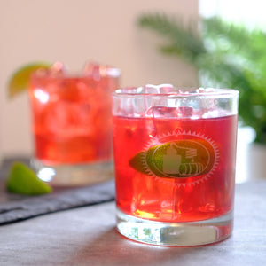 Tito's and cranberry cocktail in a Tito's Rocks Glass