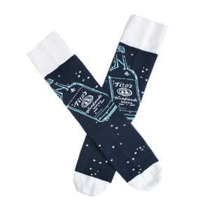 Navy half-calf socks with Tito's bottle graphic and logo