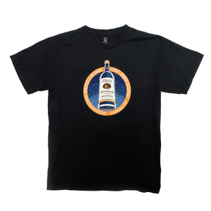 Front view of black short-sleeved t-shirt with Tito's Handmade Vodka bottle, stardust design, and orange ring with America's Original Craft Vodka Established 1997