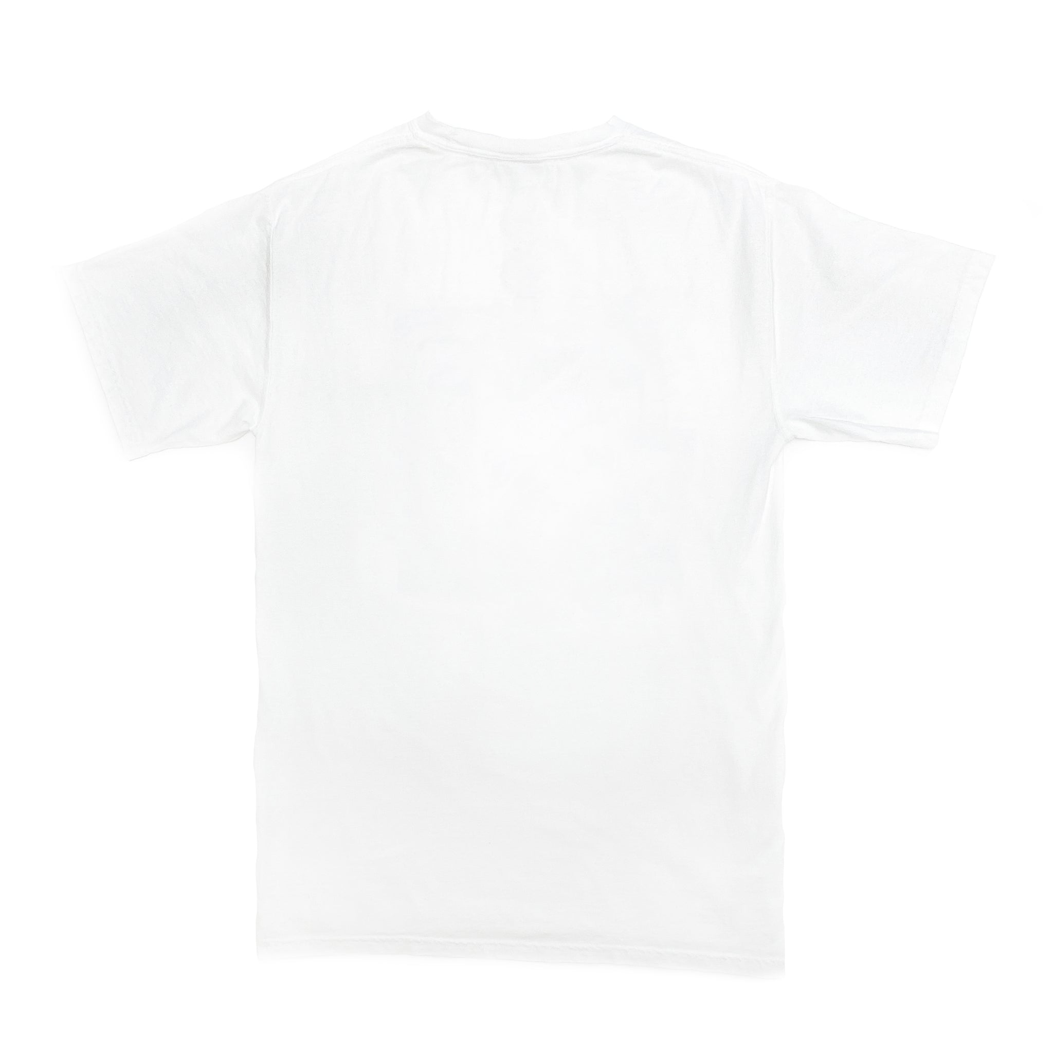 Back of white short-sleeve t-shirt