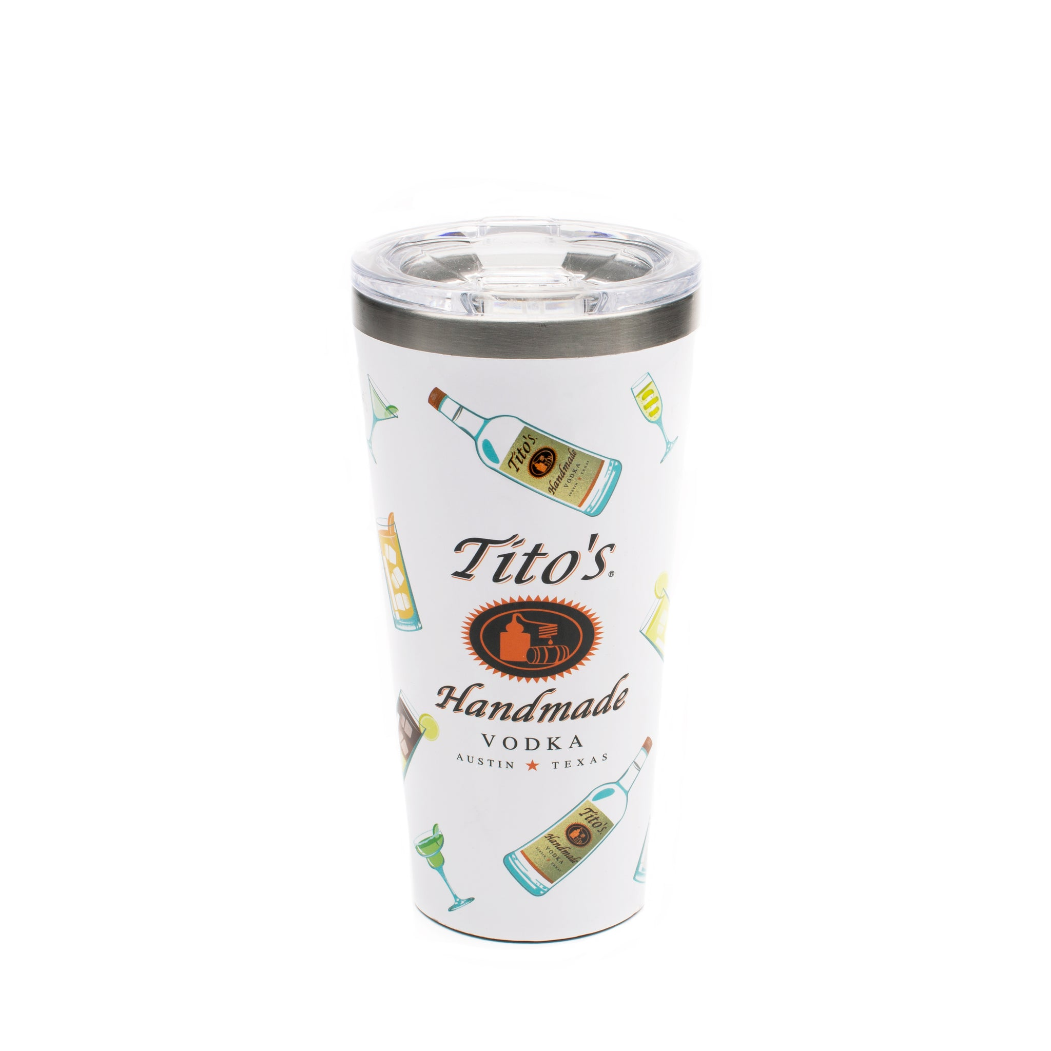Front of white Corkcicle tumbler with Tito's Handmade Vodka logo, cocktails and Tito's bottle illustrations
