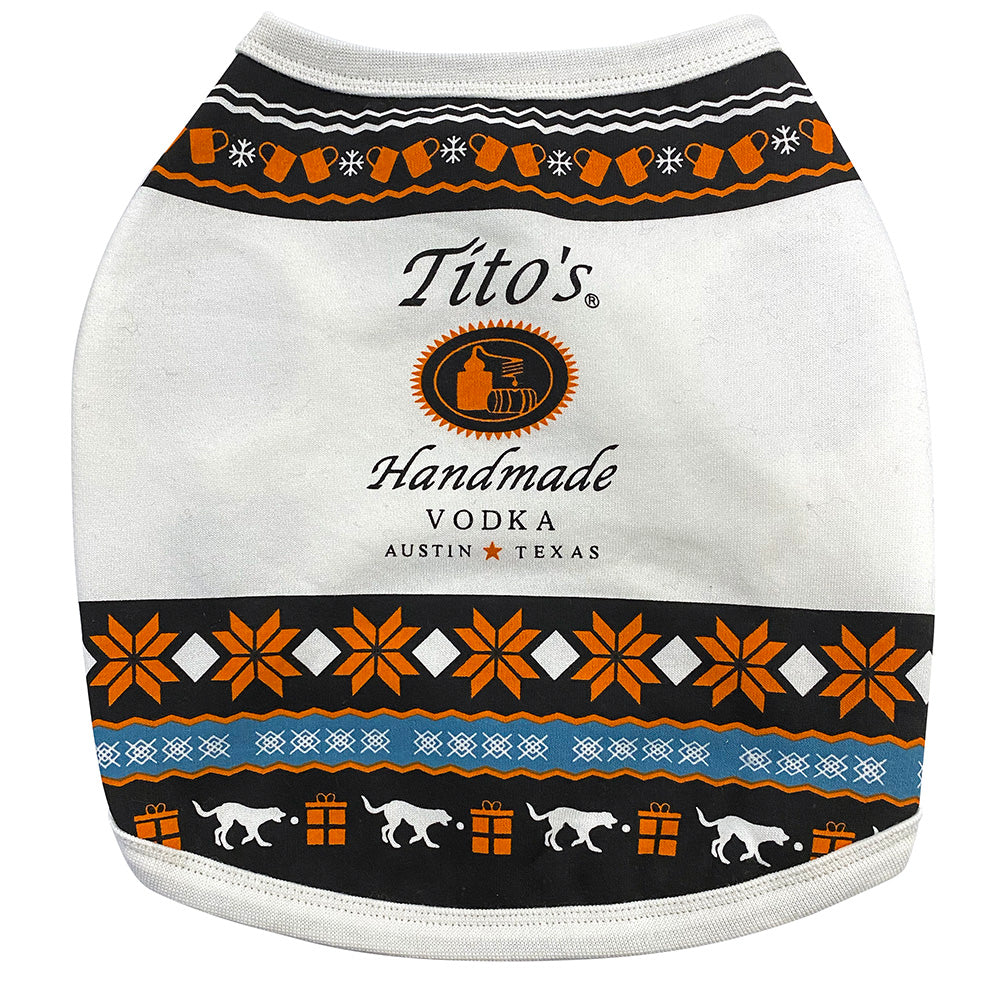 Tito's Ugly Dog Sweater featuring orange, blue and white holiday designs of snowflakes, dogs, and copper mugs