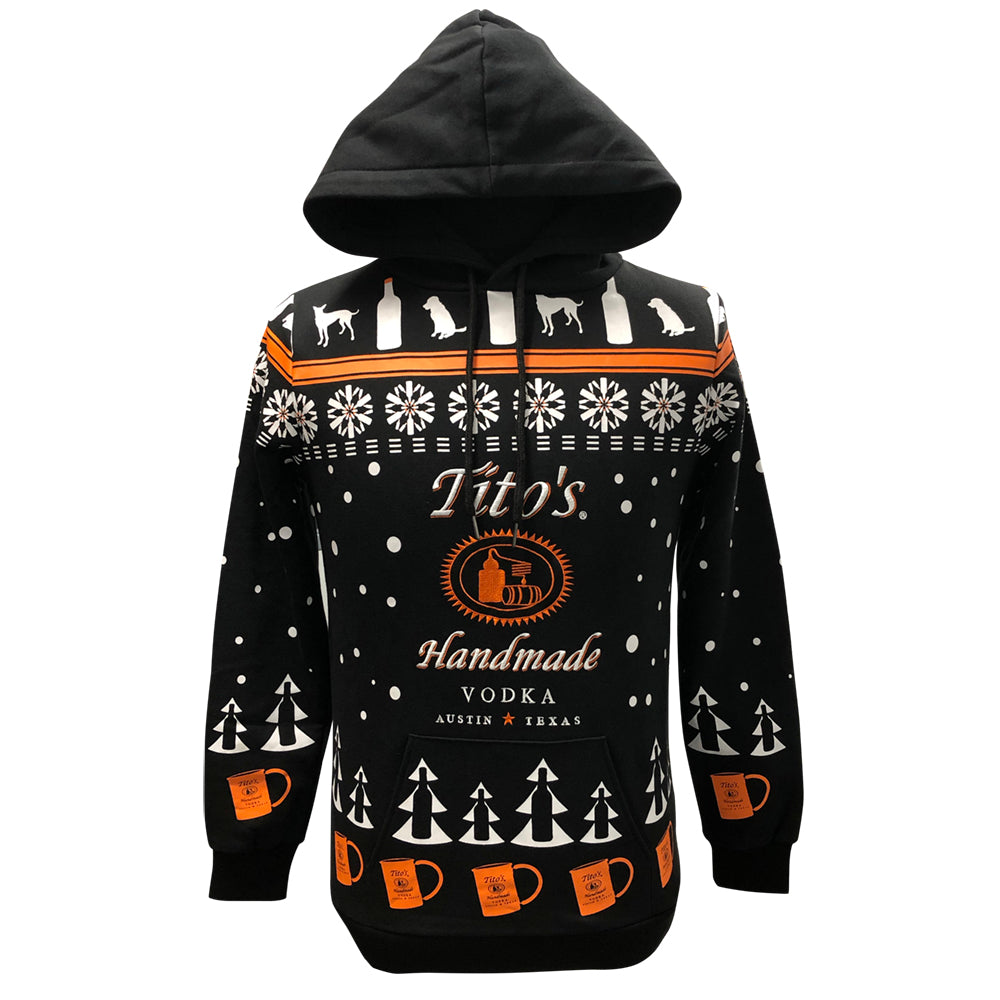 Front view of hooded sweatshirt with Tito's Handmade Vodka logo and holiday-inspired designs of snowflakes, dogs, trees, bottles, and copper mule mugs