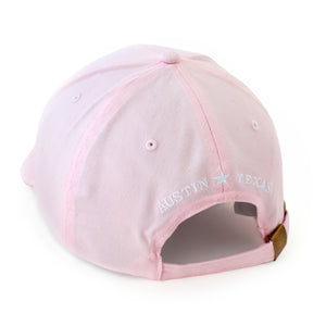 Back of Ladies' Pink Hat with Austin, Texas text
