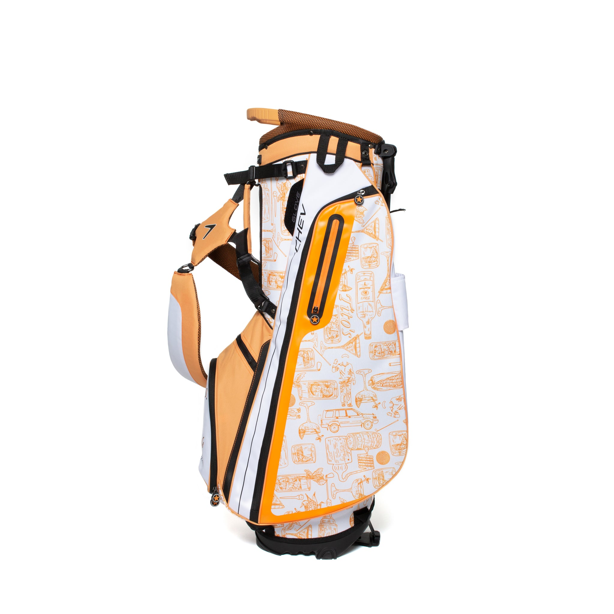 Side of orange and white golf bag with Tito's cocktail illustrations