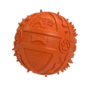 Orange rubber ball with Tito's Handmade Vodka logo, Vodka for Dog People logo, and paw print and dog bone designs