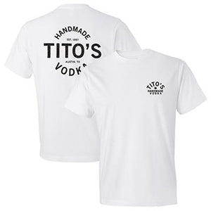Front and back of white short-sleeved t-shirt with Tito's Handmade Vodka design