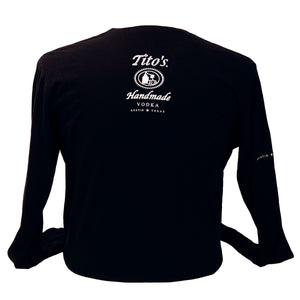 Black long sleeve with Tito's logo on the back below the neck line