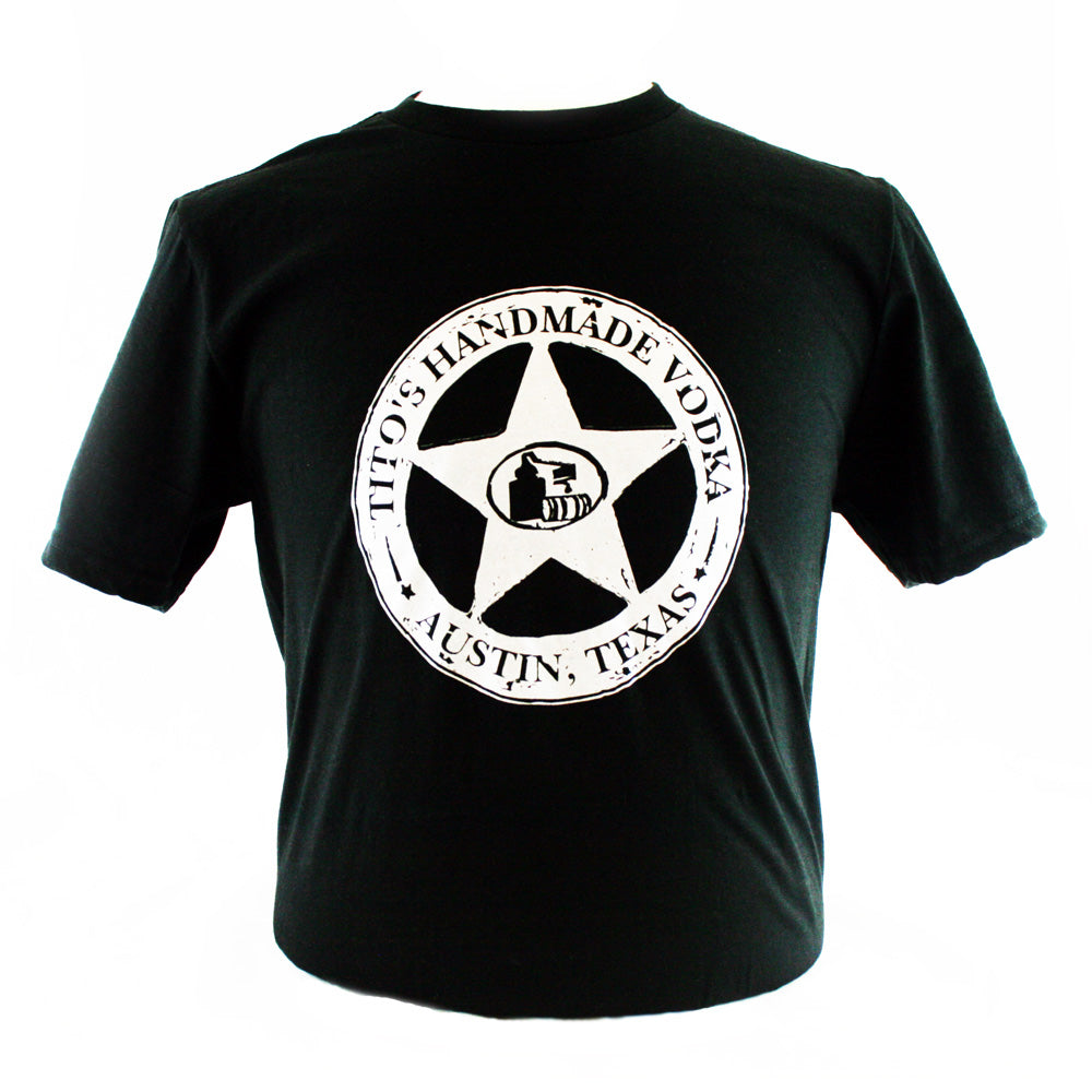 Black Short Sleeve Tee with Tito's Handmade Vodka Silver Star logo large on front