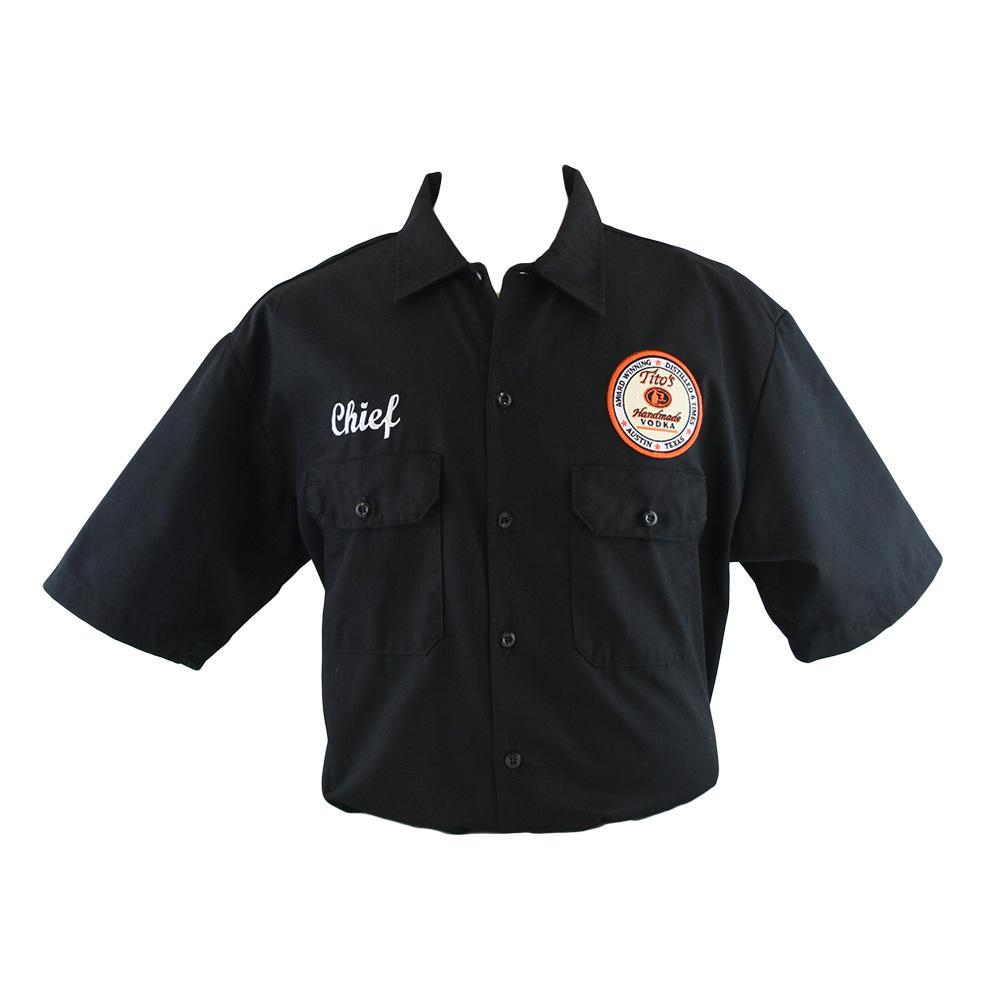 "Black button-up fishing-material shirt with Tito's logo embroidered on left breast and ""Chief"" embroidered on right breast"