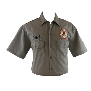 "Gray button-up fishing-material shirt with Tito's logo embroidered on left breast and ""Chief"" embroidered on right breast"