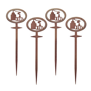 Set of 4 picks, 4 inch long stainless steel with copper-plated finish