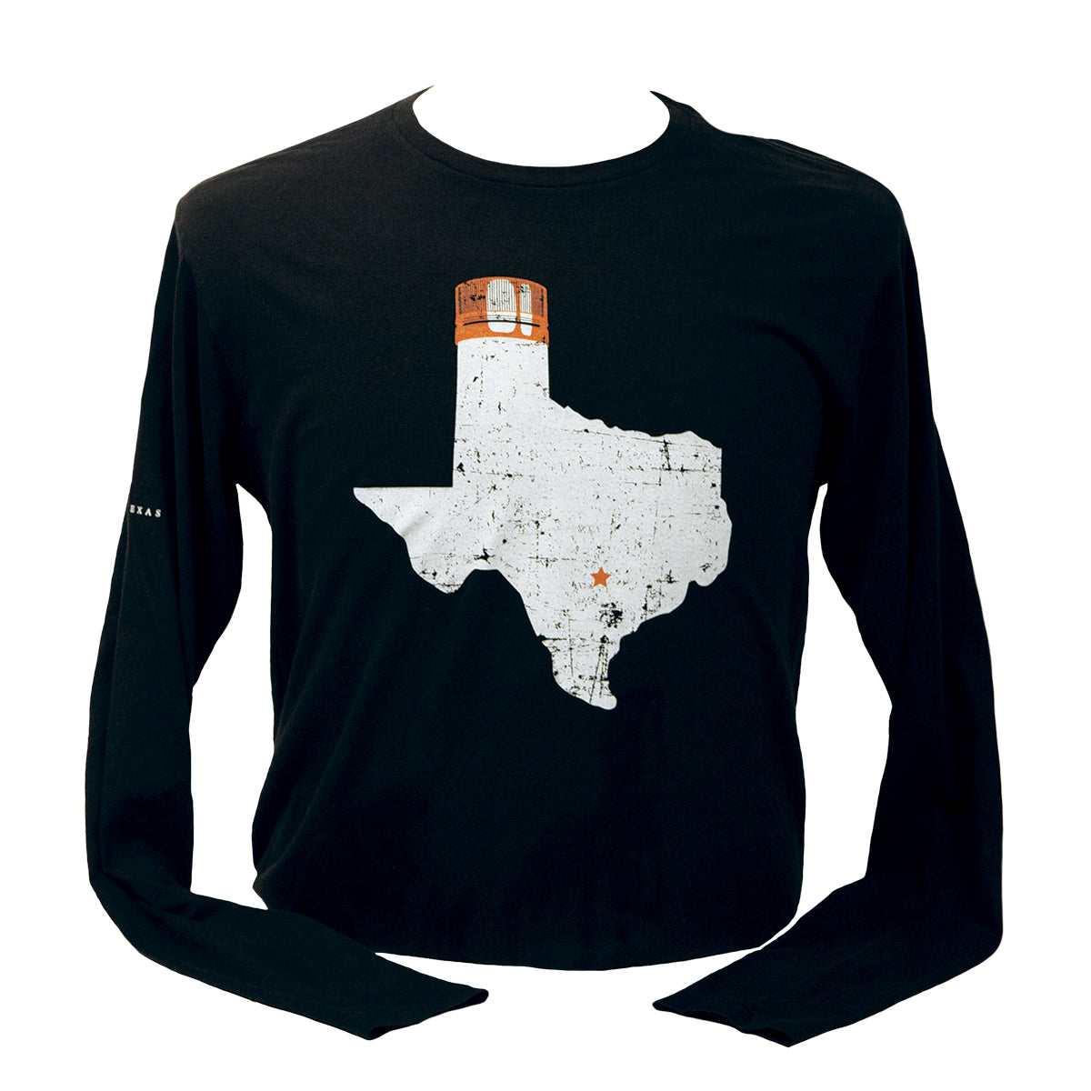 Black long sleeve with large Texas state image, star on Austin's location, and Tito's Copper top on panhandle on front
