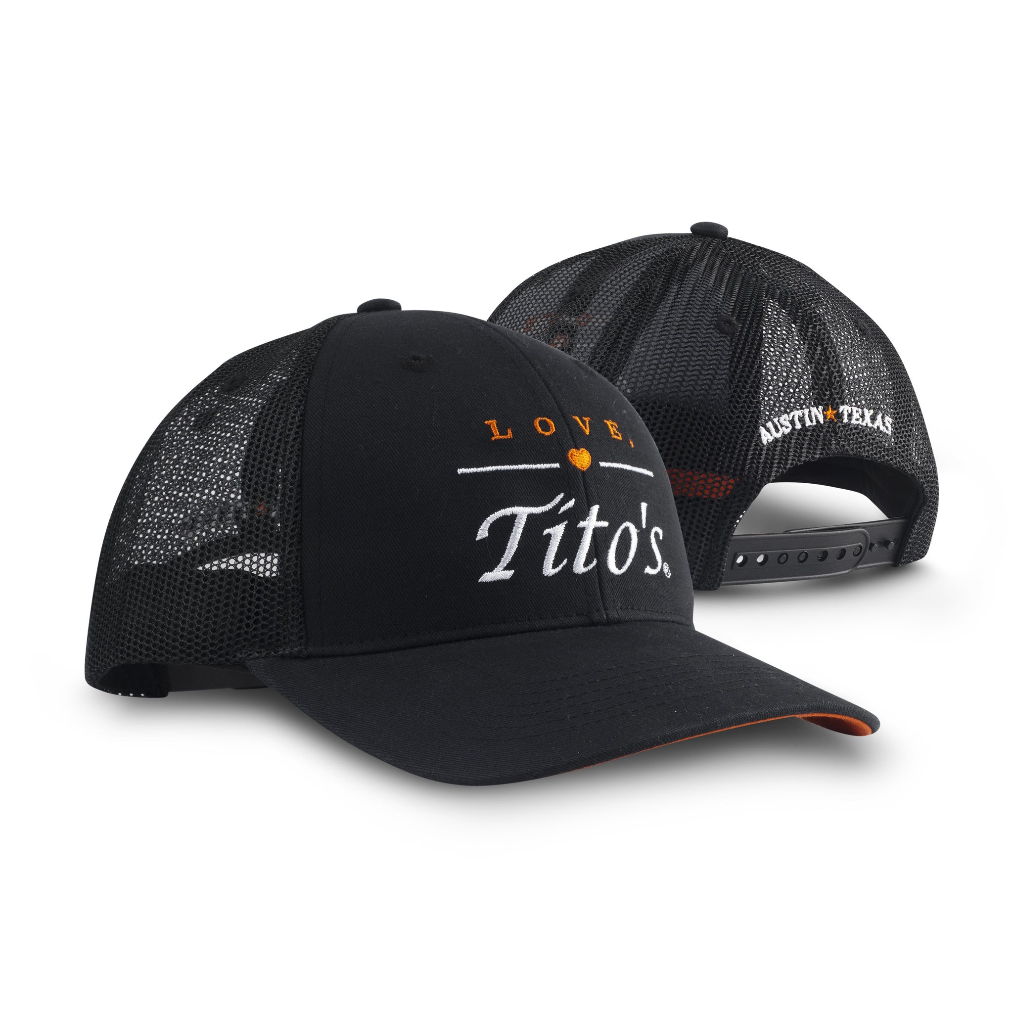 Front and back view of black trucker hat with embroidered Love, Tito's logo on the front and Austin Texas on the back