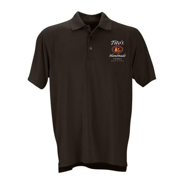 Mens' black collared polo with Tito's logo on left side of chest