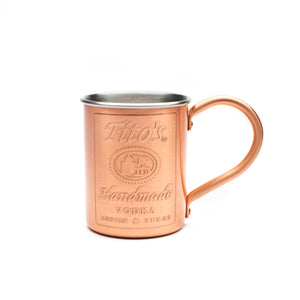 Tito's Handmade Vodka logo embossed on copper moscow mule mug