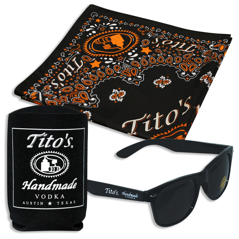 Black Tito's sunglasses, black and orange Tito's bandanas, black Tito's koozies (4 of each)