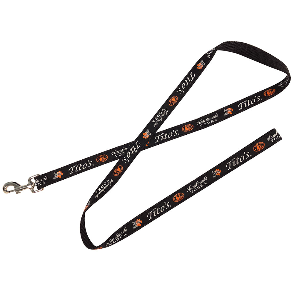 Dog leash with Tito's logo and Vodka For Dog People graphic